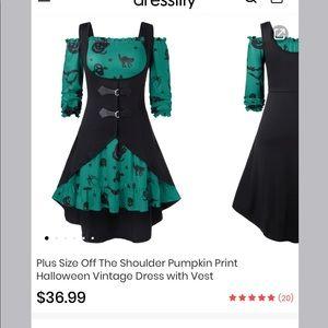 Plus Size Pumpkin Halloween Dress w Vest Size 24
